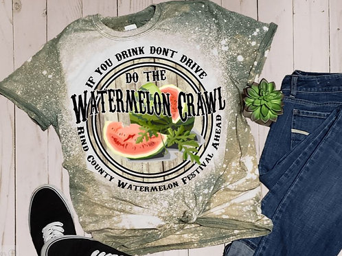 BLEACHED TEE Short Sleeve or Tank Watermelon Crawl