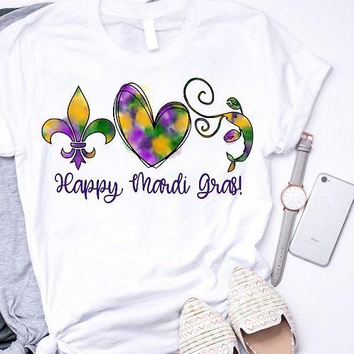 SUBLIMATED TEE Short or Long Sleeve Mardi Gras Fleur de Lis Heart Crawfi1