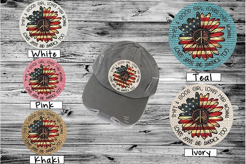 Sublimated Trucker Hats Many Colors She's a Good Girl Sunflower Flag
