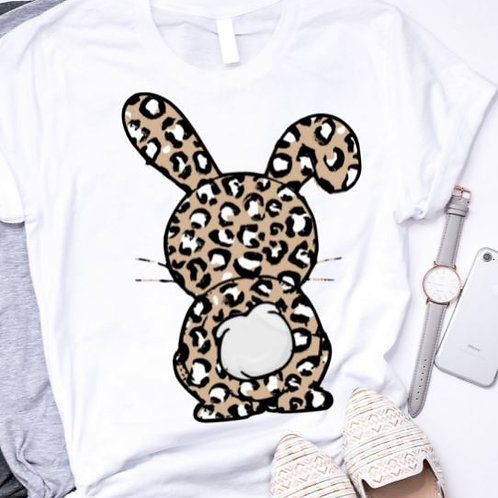 SUBLIMATED TEE Short or Long Sleeve Easter Bunny Leopard Tan