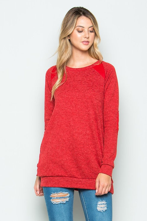 brushed knit elbow patched long sleeve Tunic All Colors S - XL
