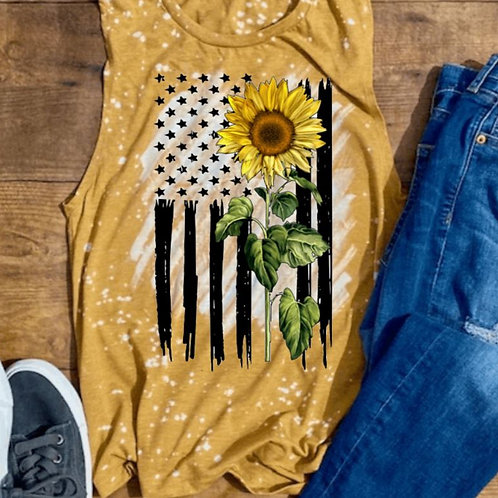 BLEACHED TANK TOP or TEE Sunflower Flag