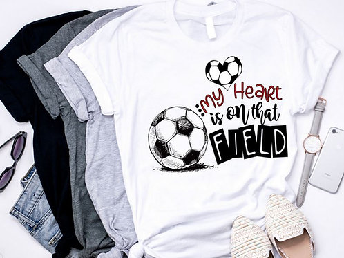 SUBLIMATED TEE Short or Long Sleeve Soccer My Heart is on the Field with Number