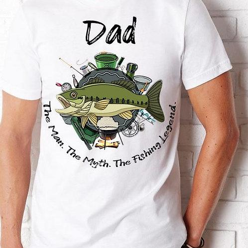 SHORT SLEEVE SUBLIMATED TEES SHIRT Dad Man Myth Legend Fish ANY NAME