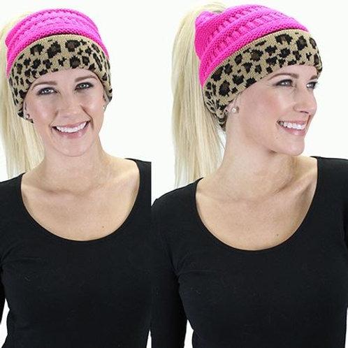 CC Ponytail Leopard Beanie Hot Pink