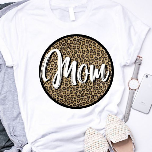 SUBLIMATED TEE Short or Long Sleeve Mom Leopard White Circle ANY NAME