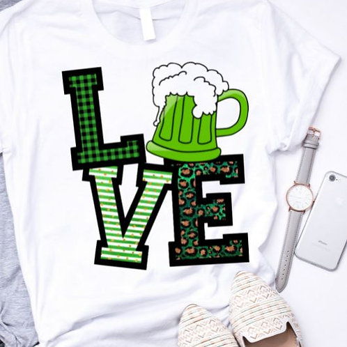 SUBLIMATED TEE Short or Long Sleeve St. Patty LOVE Green Beer