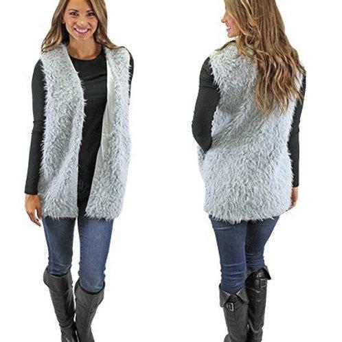Fur Vest with Pockets Grey