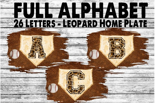 SUBLIMATED PNG ONLY Baseball Leopard Home Plate FULL ALPHABET