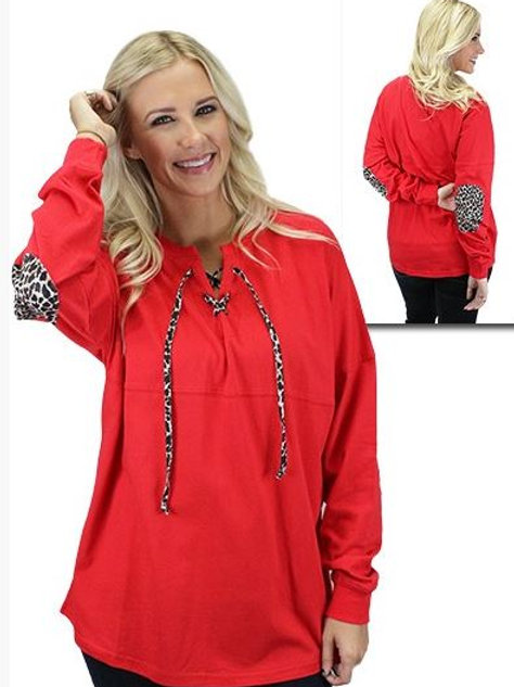 Leopard Lace Up Spirit Jersey with Elbow Patches Red