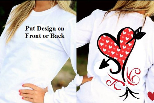 LONG SLEEVE VALENTINE'S DAY SHIRT Red with Hearts