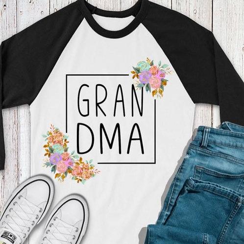 SUBLIMATED TEE RAGLAN Grandma Flower Square