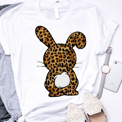 SUBLIMATED TEE Short or Long Sleeve Easter Bunny Leopard Brown