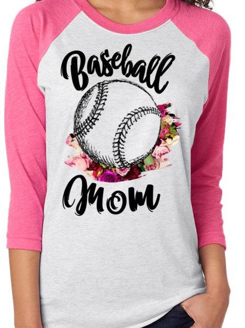 SUBLIMATED RAGLAN Scribble Baseball Mom Roses