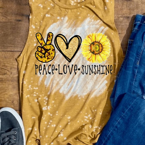 BLEACHED TANK TOP or TEE Peace Love Sunflower