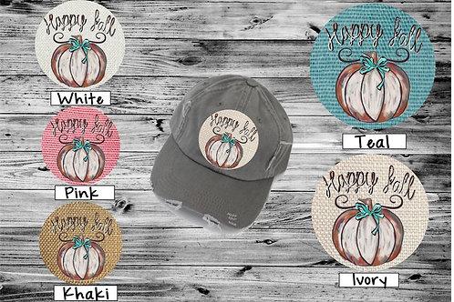 Sublimated Trucker Hats Many Colors Happy Fall Watercolor Pumpkin