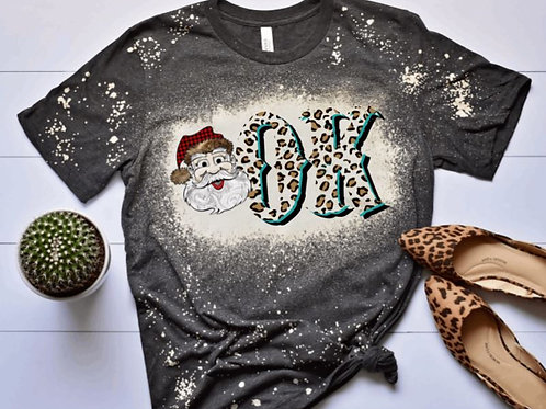 BLEACHED TEE Short or Long Sleeve Leopard Christmas Santa State Int ANY STATE