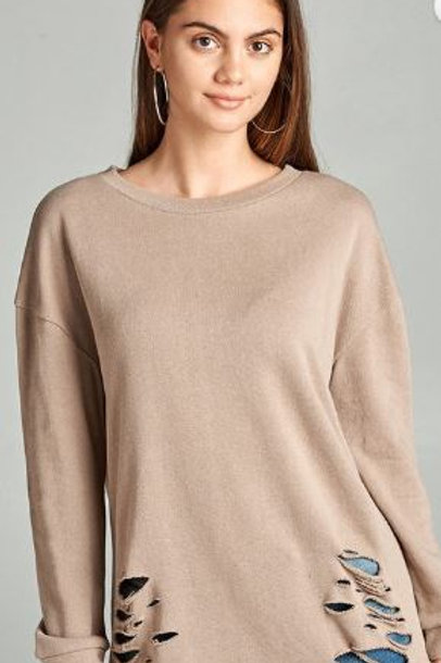 Dropped Long Sleeve Distressed French Terry Tunic Shirt Taupe