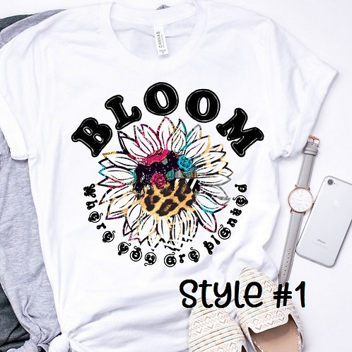 SUBLIMATED TEE Short or Long Sleeve Hippie Sunflower Bloom Style #1