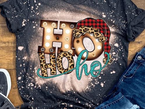 BLEACHED TEE Short Sleeve or Tank Christmas Ho Ho Ho