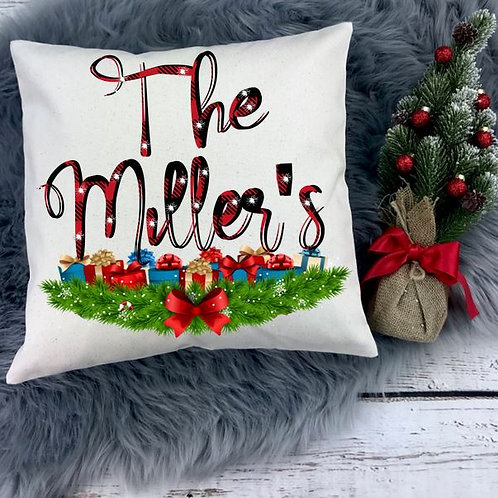 Personalized SUBLIMATED Pillow Covers Red Plaid Family Name Script 3