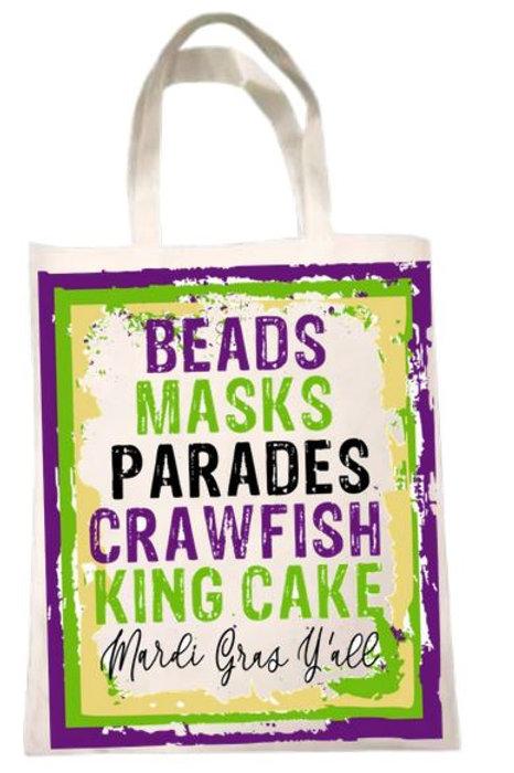 SUBLIMATED Tote Bag Mardi Gras Bead Bag - Beads Masks Parades Crawfish King Cake