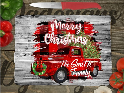 SUBLIMATED Glass Cutting Board SMALL or LARGE Merry Christmas Big Red Truck