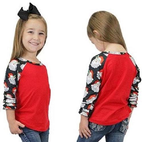 Christmas Raglan 3/4 Sleeve Shirts Youth Red