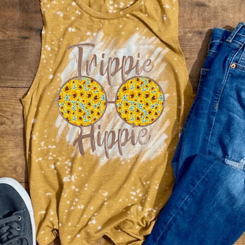 BLEACHED TANK TOP or TEE Trippie Hippie Sunflowers