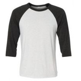 Bella & Canvas Unisex 3/4 Sleeve Raglan Tee Charcoal Triblend/White