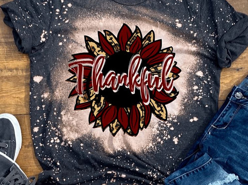 BLEACHED TEE Short or Long Sleeve Thankful Sunflower Maroon
