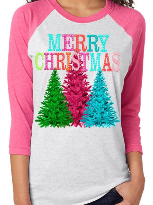 SUBLIMATED RAGLAN Merry Christmas Pink Turquoise Trees