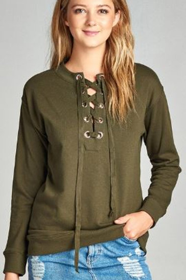 Long Raglan Sleeve Lace-up French Terry Shirt Olive