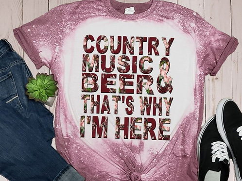 BLEACHED TEE Short Sleeve or Tank Country Music and Beer