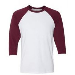 Bella & Canvas Unisex 3/4 Sleeve Raglan Tee Maroon/White