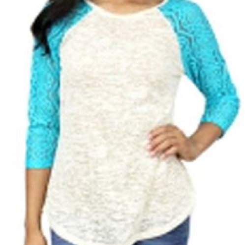 Burnout Baseball 3/4 Sleeve Raglan Shirt Turquoise White