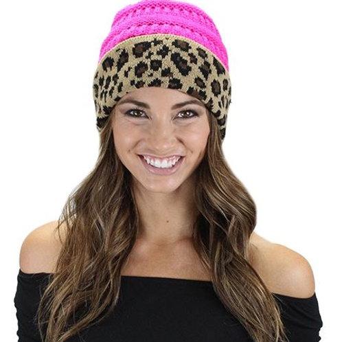 Leopard Beanie Hot Pink