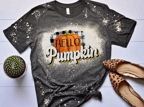 BLEACHED TEE Short or Long Sleeve Hello Pumpkin Retro