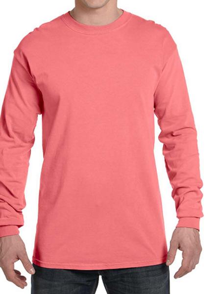Comfort Colors Unisex Adult Long Sleeve Tee Neon Red Orange