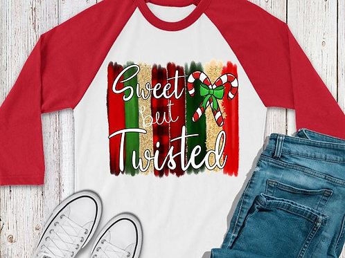SUBLIMATED TEE RAGLAN Sweet But Twisted Candy Cane