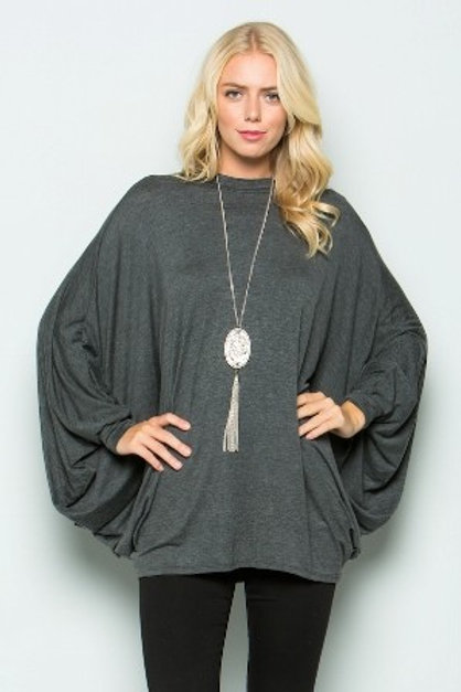 OVERSIZED PONCHO DRESS Charcoal