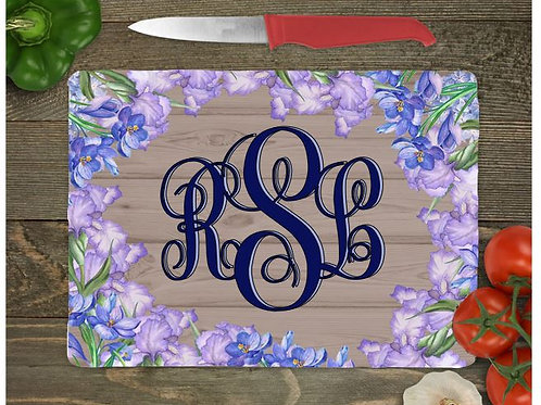 SUBLIMATED Glass Cutting Board Personalized SMALL or LARGE Iris