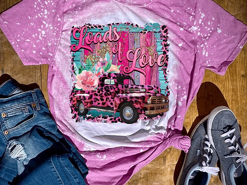 BLEACHED TEE Short or Long Sleeve Valentine Loads of Love Pink Cheetah Truck
