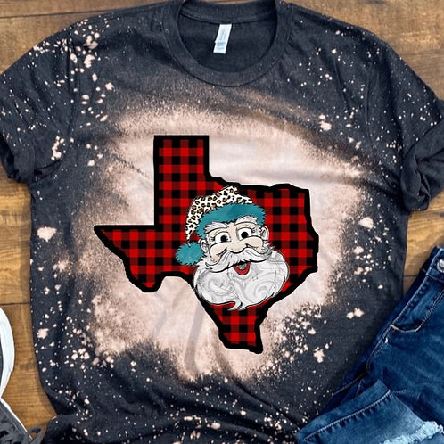 BLEACHED TEE Short or Long Sleeve Plaid Christmas Large Face Santa ANY