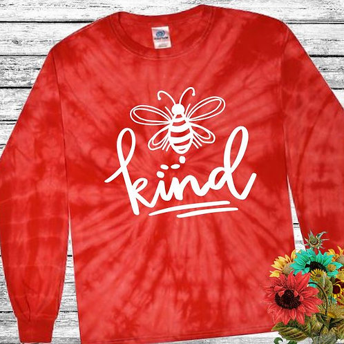 Graphic Tie Dye TEE Long Sleeve Be Kind Spider Red