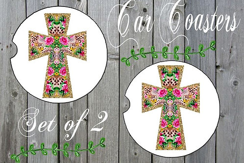SUBLIMATED Car Coasters Set of 2 Rubber or Sandstone Cross Animal Floral