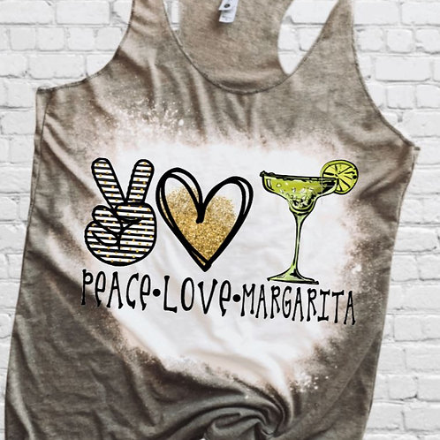 BLEACHED TANK TOP or TEE Peace Love Margarita