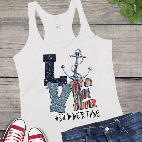 Tank Top SUBLIMATED GRAPHIC SHIRT LOVE Summertime Anchor