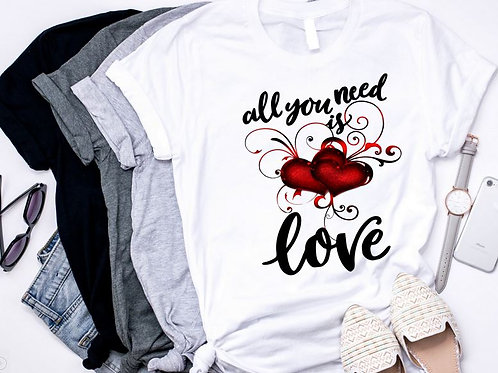 SUBLIMATED TRANSFER ONLY All You Need is Love Watercolor Heart