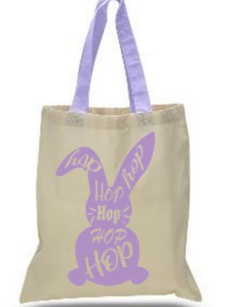 Easter Basket Tote Bags Cotton with Colored Handles All Colors Style #3